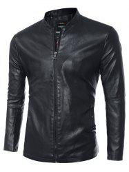 Simple Stand Collar PU Leather Jacket - BLACK