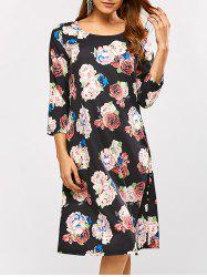 Ornate Floral Print Dress