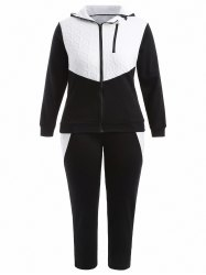 Plus Size Hooded Jacket and Contrast Pants Twinset - BLACK
