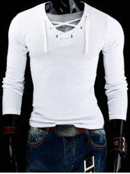 Trendy Slimming V-Neck Drawstring Faux Twinset Long Sleeve Polyester T-Shirt For Men - WHITE