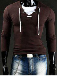 Trendy Slimming V-Neck Drawstring Faux Twinset Long Sleeve Polyester T-Shirt For Men - COFFEE