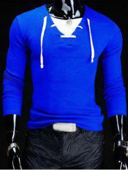 Trendy Slimming V-Neck Drawstring Faux Twinset Long Sleeve Polyester T-Shirt For Men - SAPPHIRE BLUE