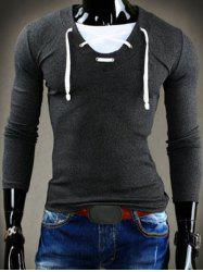 Trendy Slimming V-Neck Drawstring Faux Twinset Long Sleeve Polyester T-Shirt For Men
