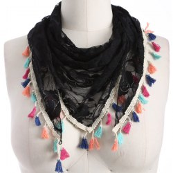 Travel Colorful Tassel Lace Triangle Scarf - BLACK