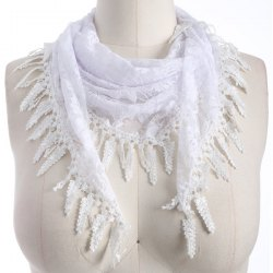 Travel Leaf Tassel Lace Triangle Scarf - WHITE