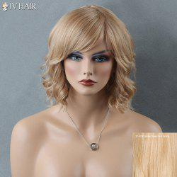 Short Side Bang Curly Siv Human Hair Wig - GOLDEN BROWN WITH BLONDE