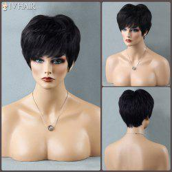 Short Shaggy Full Bang Straight Siv Human Hair Wig - JET BLACK