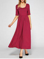 High Waist Pleated A Line Dress - RED