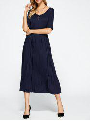 High Waist Pleated A Line Dress