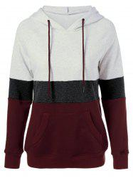 Plus Size Color Block Hoodie - COLORMIX