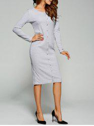 Long Sleeve Button Up Knit Sheath Dress