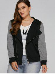 Plus Size Zip Pocket Hooded Jacket - BLACK AND GREY