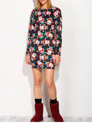 Festival Christmas Santa Claus Print Tunic Dress -