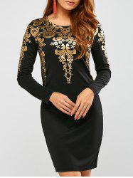 Mini Long Sleeve Arab Gilding Modest Sheath Dress