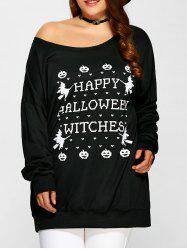 Pullover Letter Witch Print Sweatshirt