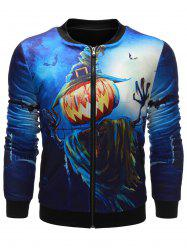 Pumpkin Devil Printed Zip Up Halloween Jacket - BLUE 5XL