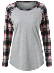 Plaid Trim Raglan Sleeve Tee - DEEP GRAY M