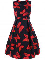 Butterfly Print Fit and Flare Dress -