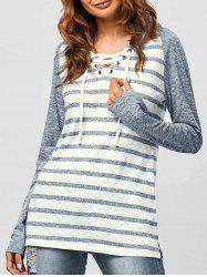 Lace-Up Striped Hoodie -