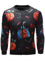 3D Pumpkin Face Printed Zip Up Halloween Jacket