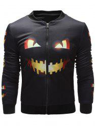 Side Pocket Pumpkin Face Printed Halloween Jacket