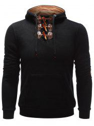 Elbow Patch Kangaroo Pocket Toggle Hoodie - BLACK XL