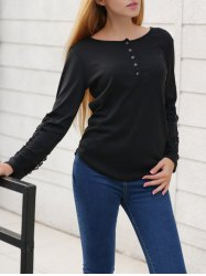 Openwork Lace Buttons T-Shirt -