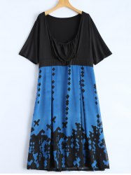Draped Printed Empire Waist Tea Length Dress - BLUE 6XL