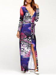 Plunging Neck Printed Slit Dress