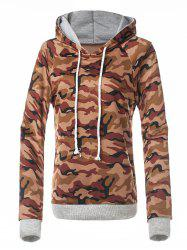 Fitted Camo Printing Hoodie - RED BROWN S