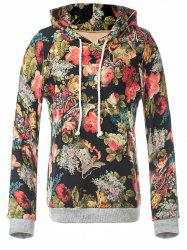 Retro Rose Floral Pullover Hoodie
