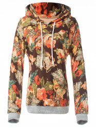 Retro Floral Painting Pullover Hoodie -