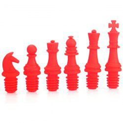 6PCS Silica Gel Chinese Chess Shape Wine Bottle Plugger - RED