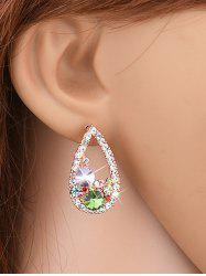Colorful Rhinestone Waterdrop Stud Earrings