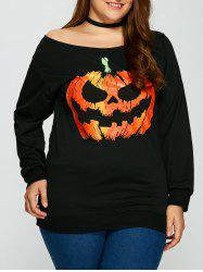 Halloween Pumpkin Plus Size Sweatshirt - BLACK
