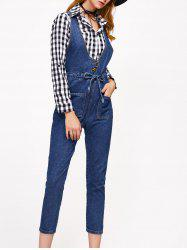 Sleeveless Drawstring Fit Denim Ninth Jumpsuit