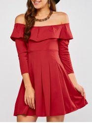 Off The Shoulder Flounce Dress - RED M