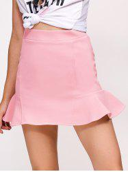 Flounce High Waist Skirt - PINK