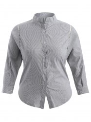 Plus Size Pinstriped Openwork Blouse -