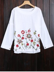Long Sleeve Flower Embroidered Blouse -