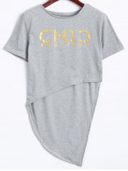 Active High Low Cropped T-Shirt+Graphic Pants - LIGHT GRAY S