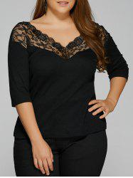 Lace Trim Insert Backless T-Shirt - BLACK