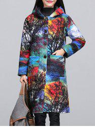 Ethnic Style Color Block Paint Quilted Coat - COLORMIX