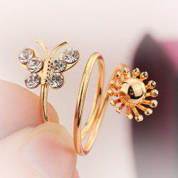 Rhinestone Layered Butterfly Cuff Ring -