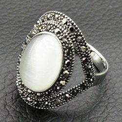 Vintage Artificial Opal Oval Ring - SILVER 18