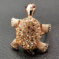 Cute Rhinestone Tortoise Finger Ring