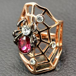 Cool Rhinestone Spider Cobweb Finger Ring