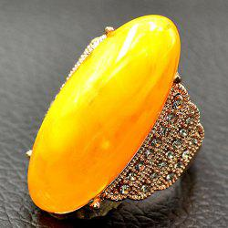 Anneau oval artificiel en diamant - Jaune