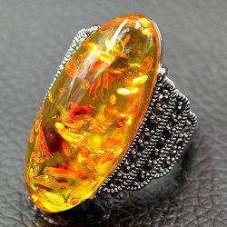 Artificial Gemstone Oval Ring - YELLOW