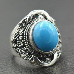 Vintage Engraved Artificial Gemstone Ring